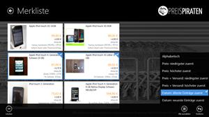 Screenshot mit der Merkliste und einigen Sortier-Optionen